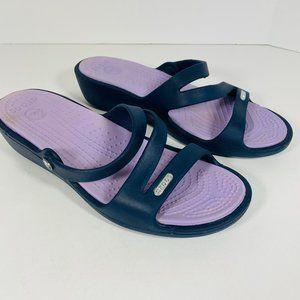 Crocs Patricia Wedge Sandal Navy Lavender